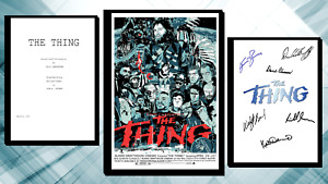 The Thing Script/Screenplay & Movie Poster And Autographs Signed Print