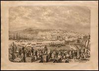 1860 - Napoleón III - Argelia - Desembarco Para Argel, Puerto, Barcos - Grabado