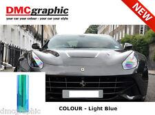 2xA4 Chameleon Light Blue Car Motorbike Headlight Rearlight Adhesive Tint Film