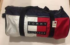 Vintage 1980s Tommy Hilfiger Flag Tote Duffle Gym Travel Luggage Bag Heavy Nylon