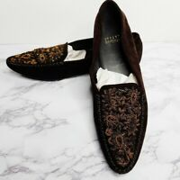 Stuart Weitzman | Womens Size 6.5M Brown Suede Beaded Embellished Loafers