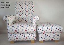 John Lewis Funky Stars Blue Fabric Chair & Footstool Armchair Nursery Grey Red