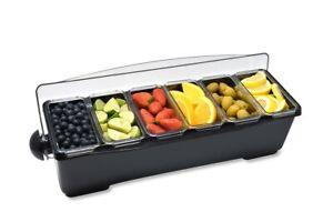 Premium Black/White Condiment Dispenser 6 Compartment Black   Bar Condiment