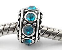 December Birthstone Blue Rhinestone Spacer Ring Charm for European Bead Bracelet