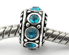 Blue Rhinestone Spacer Ring December Birthstone Bead for European Charm Bracelet