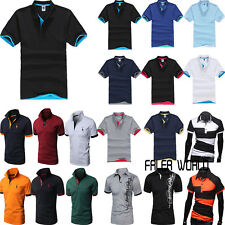 Mens Short Sleeve Summer Golf Polo Shirts Casual Cotton Plain T-Shirt Tops Tee