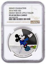 2016 Mickey Mouse Brave Little Tailor Niue 1 Oz Proof Silver Coin NGC PF69