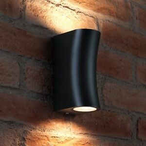 Auraglow IP44 10w Outdoor Double Up & Down Wall Light LED bulbs Included - Black