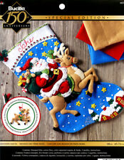 "Bucilla Reindeer Santa ~ 18"" Felt Christmas Stocking Kit #86816, Stars, Rudolph"