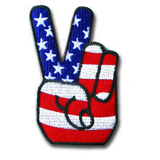 Victory Peace Sign Hand Patch Iron on US Flag Biker Badge Sew Race Zeichen MC