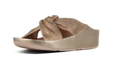 Fitflop Twiss Crystal Platino Gold Slide Sandal Women's sizes 5-11/NEW