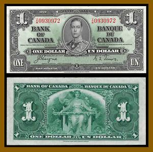 Canada 1 Dollar, 1937 P-58e Banknote (VF-XF)