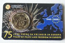 COINCARD 2,50 EURO COMMEMO 2020 BELGIQUE 75 ANS PAIX LIBERTE(NEDERL-ANGLAIS)