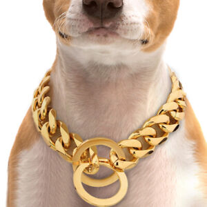 Gold Dog Check/Choke Chain Collars Stainless Steel Slip Pet Training Cuban Link