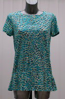 M&S Per Una Sizes 8 10 12 14 16 Short Sleeve Top Bnwt Turquoise Mix