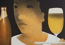 JOHANNES HÜPPI Originalfarbradierung  handsigniert E.A. Probedr. Kellnerin Bier