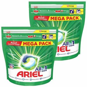 Ariel All in-1 Pods Washing Original Capsules, 2 Pack of 51 Capsules