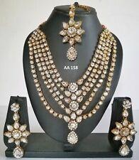 Wedding Bridal Necklace Earrings Sets 158 Indian Fashion Kundan White Cz Jewelry