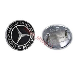 Mercedes-Benz Black Hood Emblem Laurel Wreath Flat Logo GT CLA SLK CLS SL CLS S