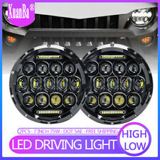 """Pair 7"""" Inch 75W LED Headlight High/Low Beam DRL For Jeep Wrangler Hummer Harley"""