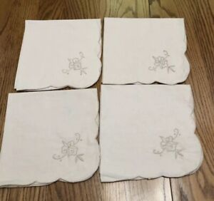 Vintage Table Napkins Set of Four Tan in Color Floral Embroidery 16x16
