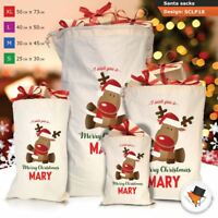 Personalised Reindeer Christmas Santa Sack Gift Bag Red Girl Boy Stocking