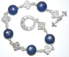 Dainty Navy Blue LAPIS Lazuli  & Tibetan Silver CELTIC Knot Toggle Bracelet
