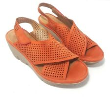 Clarks Artisan Clarene Women's Wedge Sandals Size 9 M Orange Leather Perforated