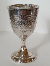 Antique Victorian Coin Or Sterling Silver Hand Chased Goblet W Fleur de Lis