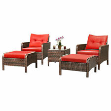 5 PCS Patio Rattan Wicker Furniture Set Sofa W/ Cushions Outdoor Brand New