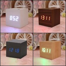 USB Cube Square Digital LED Alarm Clock Wooden Calendar Thermometer Home Decor