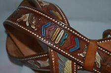 AZTECS DESIGNED  -  MEXICO HAND TOOLED  &  CRAFTED LEATHER  BELT
