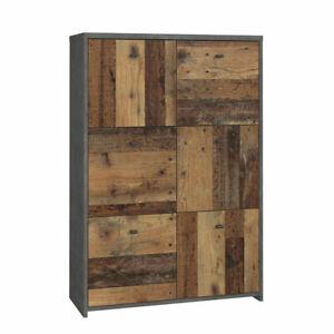 Highboard 321 Best Chest Kommode Sideboard in Old Wood Vintage und Beton grau