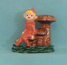 Vintage Pixie Elf Gnome Sitting on Mushrooms