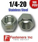 (Qty 100) 1/4-20 Stainless Steel Finished Hex Nuts 304 / 18-8 1/4'-20