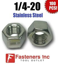 """(Qty 100) 1/4-20 Stainless Steel Finished Hex Nuts 304 / 18-8 1/4""""-20"""