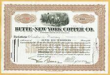 1924 BUTTE-NEW YORK COPPER CO. STOCK CERTIFICATE