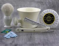 4Pieces Men's Shaving Set With White Hair Brush & Straight Razor,Mug,Soap+Blade.