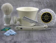 4Pieces Men's Shaving Set With White Hair Brush & Shavette Razor,Mug,Soap+Blade.