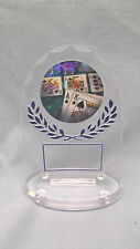 blue poker trophy oval acrylic award free lettering combined shipping offered