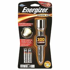 Energizer VISION HD METAL LED TORCH+2xAA, Portable, 300lm & 115m Beam USA Brand