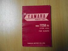 Parts List/liste de pièces YAMAHA TY 250 TYPE 516 (modèle 1976)