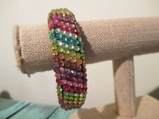RAINBOW RHINESTONE BLACK LUCITE PLASTIC BANGLE BRACELET