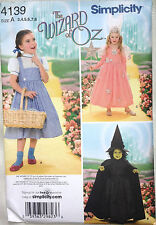 NEW Simplicity The Wizard of Oz Kids Costumes Sewing Pattern 4139 Size A (3 - 8)