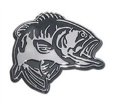 Bass Fish Chrome Metal Auto Emblem (NEW) Fishing Boat Car Decal Sticker MVP