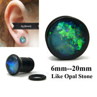 Black Ear Tunnel Plugs With O Ring Earlet Flesh Tunnel Expander Gauges Piercing
