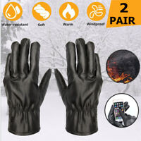 2 Pair Men Windproof Waterproof PU Leather Touchscreen Gloves Warm Winter Gloves