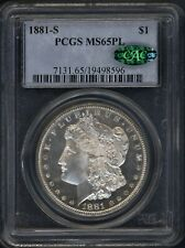 1881-S PCGS/CAC 65PL Morgan Silver $ ~ WHITE W/ INCREDIBLE MIRRORS ~ 1c START