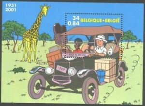 Belgium**TINTIN in Congo-SHEETLET-Ford Model T car-COMICS-2001