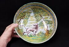 Large Early Antique Talavera Pottery Punch Bowl Hand Painted - As is